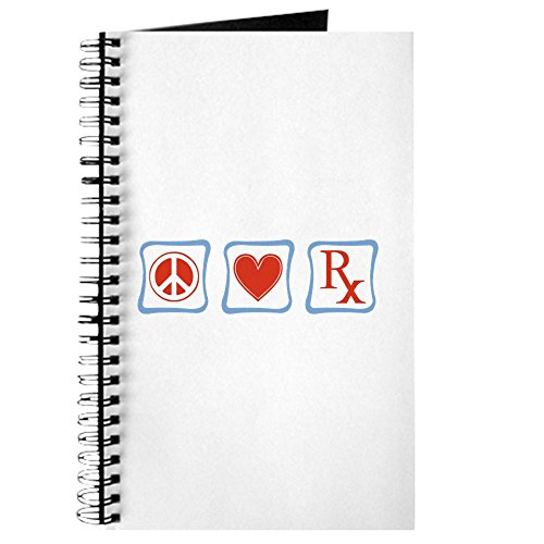 CafePress - Peace, Love and Pharmacists Journal - Spiral Bound Journal Notebook, Personal Diary, - Novelty Prescription Pads
