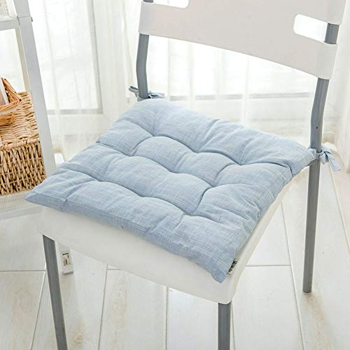 Chair Pads Cotton and Linen Soft Chair Cushion Dining Seat Cushion Four Seasons Office Chair Cushion Small with Ties (Light Blue) (Embroidered Pads Chair)