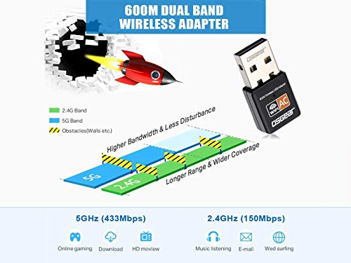 OSGEAR 600Mbps USB Wireless Card Adapter Networking Wi-Fi Dongle Portable Dual Band 2.4G 150Mbps 5G 433Mbps 802.11ac for Laptop Desktop PC Computer Win 10 8 7 XP Vista Mac Linux