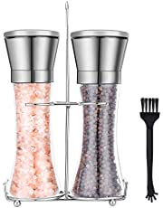Salt and Pepper Grinder Set with Stainless Steel Stand and Brush SemiShare Refillable Salt and Pepper Shakers Mill for Himalayan Pink Salt, Black Peppercorns, White Pepper (6 Ounce)