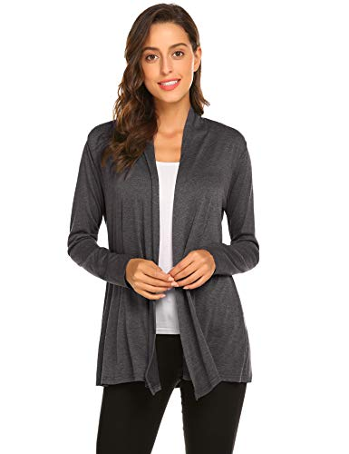 Newchoice Womens Long Sleeve Lightweight Cardigan Kimono Coverups Classic Open Front Petite Cardigans (Dark Grey, S)