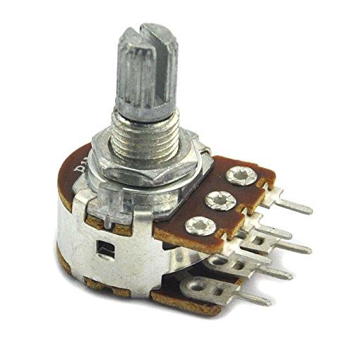 Electronics-Salon 100pcs Linear Dual 1M ohm Rotary Carbon Potentiometer. 0.125w Carbon
