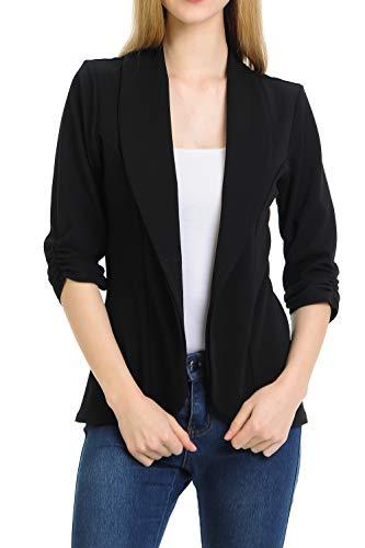 MINEFREE Women's 3/4 Ruched Sleeve Lightweight Work Office Blazer Jacket Black ()
