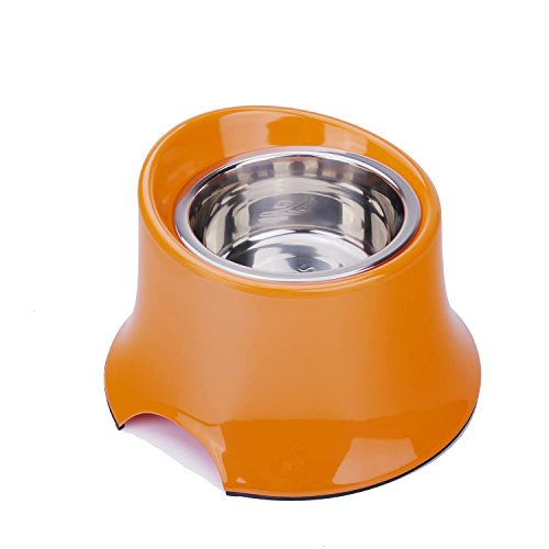 SuperDesign Removable Stainless Steel Pet Food and Water Bowl in Non-spilt Raised Round Melamine Stand with Non-Skid Rubber Bottom,Easy to Clean,Dishwasher Safe for Long Legged Dogs S Orange