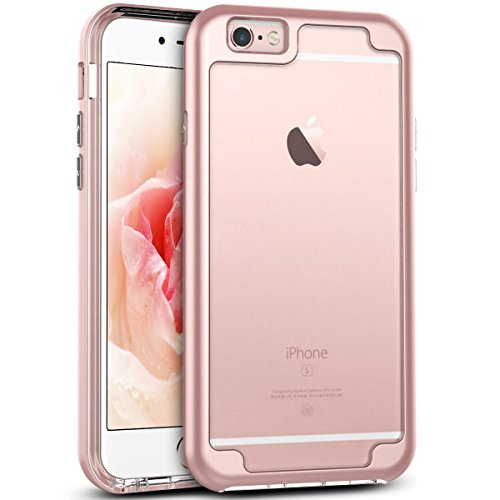 iPhone 6 Plus Case, iPhone 6S Plus Case, CinoCase Crystal Transparent Clear Soft TPU Cushion Bumper Hybrid Case with Reinforced Hard Frame for iPhone 6S Plus / iPhone 6 Plus 5.5 inch - Rose Gold
