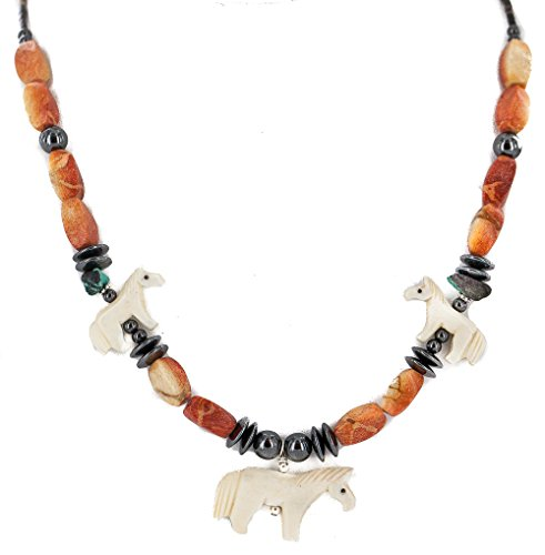 Carved Fetish Horse .925 Sterling Silver Certified Authentic Navajo Natural Turquoise Coral Bone Hematite Native American Necklace