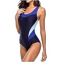 Acilnxm One-Piece Swimsuits for Women Sport Swim Ruffle Swimwear Color Block Tankini Bikini Beachwear Bathing Suit