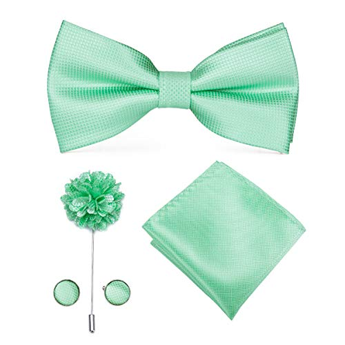 - Dubulle Mint Green Mens Silk Bow Tie Lapel Pin with Cufflinks Hanky for Wedding