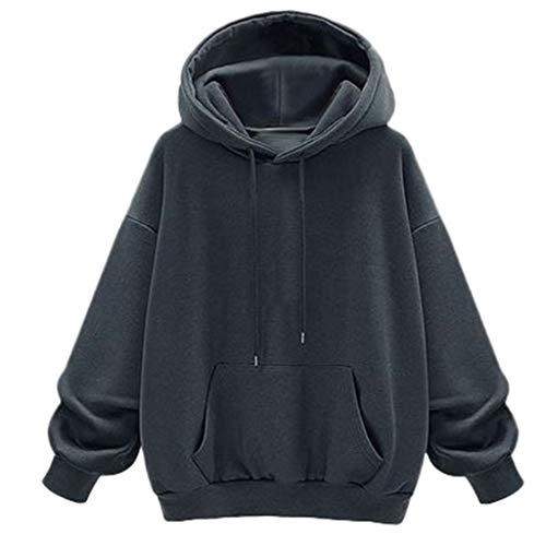 Loosebee◕‿◕ Fashion Women's Solid Long-Sleeved Solid Color Hoodie Sweatshirt Top Velvet Sweatshirt Gray (Armani Oxford Women)