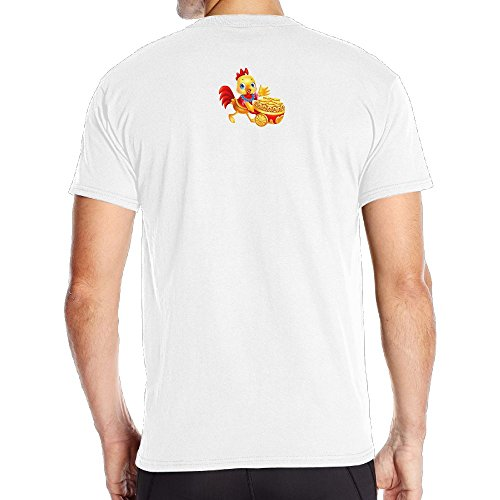 Aoaoozu8 Men's A Yellow Chicken Casual Style Tshirts White Size M