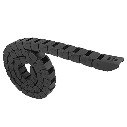 URBEST Black Plastic Flexible Nested Semi Closed Drag Chain Cable Wire Carrier 1M 15mm x 30mm for Electrical Machines (10mm x 15mm) (Chain 10mm Cable)
