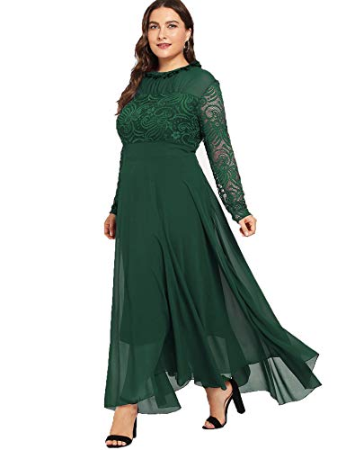 45873382cec Milumia Women s Vintage Floral Lace Long Sleeve Ruched Neck Flowy Long Dress  Green-Plus Size