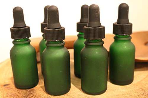 1oz Glass Dropper Bottle (Green) Frosted Glass (18 Count)