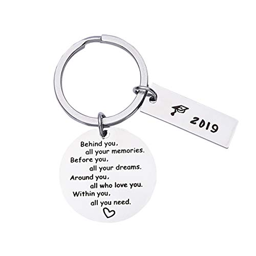 Birthday Graduation Keychain Gifts for Him/Her, 2019 Behind You All Memories Before You All Your Dream Inspirational Jewelry (Silver, One size)