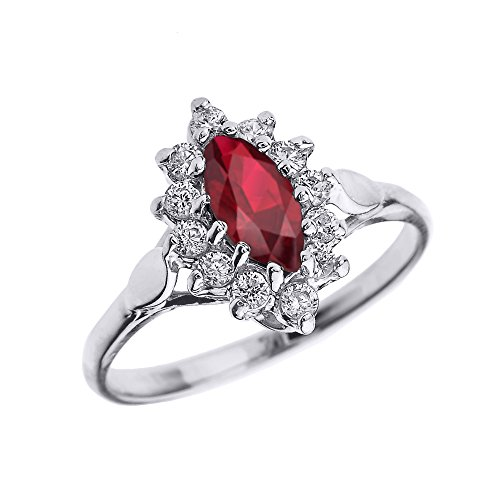 Genuine Ruby and Diamond 10k White Gold Proposal Engagement Ring (Size 8)