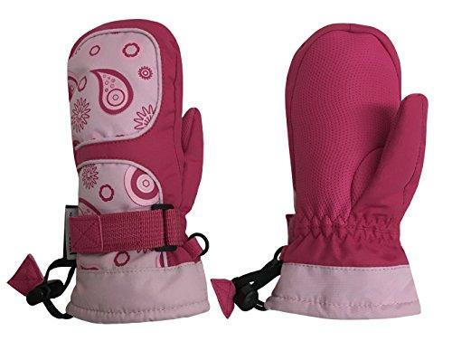 N'Ice Caps Girls Thinsulate Waterproof Geometric Print Winter Snow Mittens (3-4yrs, Fuchsia)