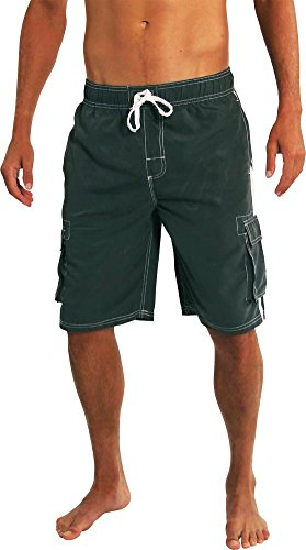 Norty Swim - Big Mens Swim Suit, Charcoal - Mens Swimwear Discount