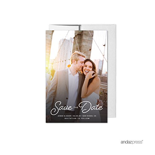 Andaz Press Photo Personalized Beloved Wedding Collection, Save the Date with Envelopes, 20-Pack, Custom Image -