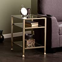Southern Enterprises Lana Metal/Glass End Table, Matte Gold