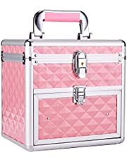 Frenessa Makeup Train Case Nail Polish Organizer Manicure Accessory Storage Makeup Box With Mirror Keys Portable Cosmetic Train Case Jewelry Box with Drawer Lockable - Pink