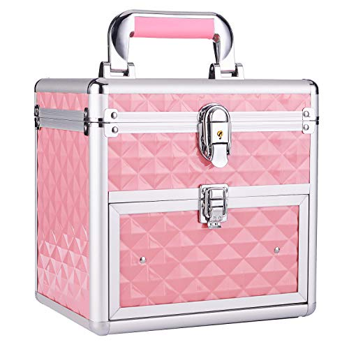 Frenessa Nail Polish Organizer Travel Case Manicure Accessory Storage Makeup Box With Mirror Keys Portable Cosmetic Train Case Jewelry Box with Drawer lockable - Pink (Polish Case Pink Nail)