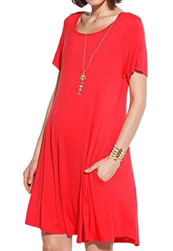 JollieLovin Women's Pockets Casual Swing Loose T-Shirt Dress (Red, L)