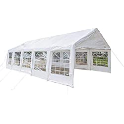 VINGLI 16' x 32' Heavy Duty Outdoor Domain Carport Canopy,Large Car Park Sun Shelter Wedding Party Tent, with 12 Removable Sidewalls, Anti-UV Protection Waterproof, Upgraded Steady Steel Panels, White
