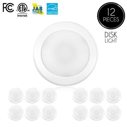 "(12-Pack)- 5/6"" Dimmable LED Disk Light Flush Mount Ceiling Fixture, 15W (120W Replacement), 2700K (Warm White), ENERGY STAR, Installs into Junction Box Or Recessed Can, 1050lm - Round Light Box"
