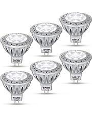 AGOTD Led lampen MR16 12V GU5.3 lampen Koud Wit, 50W Halogeenlamp Equivalent, 7 Watt Gloeilampen, Hhoge Helderheid, 6000K, 50mm Diameter, Aluminium, 560LM, 38 ° Deg, GU 5.3 voet, SMD LEDS spot, 6 stuks