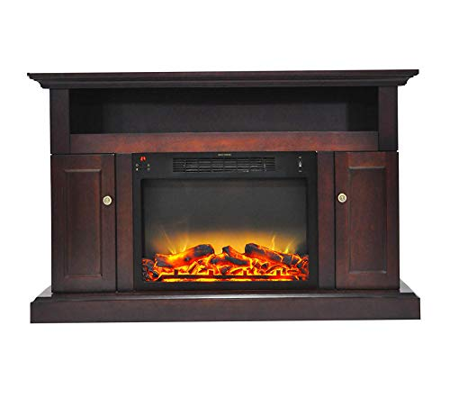 Wood & Style Furniture Sorrento Electric Fireplace with an Enhanced Log Display and 47 in. Entertainment Stand in Mahogany Premium Office Home Durable Strong