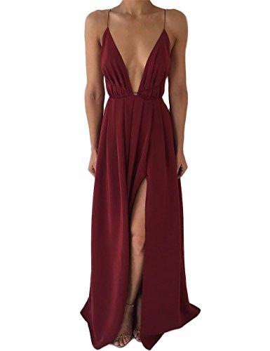 (DUBACH Womens Chiffon Spaghetti Strap Deep V Neck High Slit Maxi Beach Dress (Medium, Wine Red) )