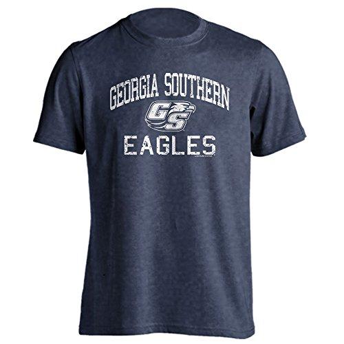 Southland Graphics Apparel Georgia Southern University Eagles Distressed Retro Logo Short Sleeve T-Shirt (Denim Heather, L)