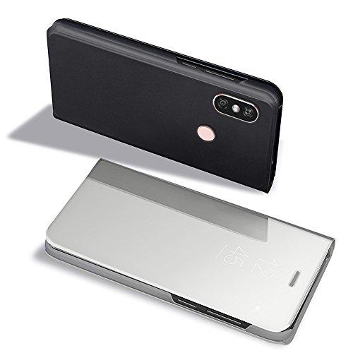 Samsung Galaxy A8 Plus 2018 Hybrid Funda de Cuero +PC, Vandot Ultra Slim Ligero Flip Funda con tapa con Smart Clear S-View, [Espejo Efecto] [Auto-Sleep/Wake-up] [Función Atril] 360 Protección de Cuerp Clear View-2
