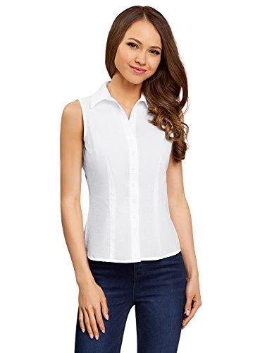oodji Ultra Mujer Camisa Básica sin Mangas Blanco (1000N)