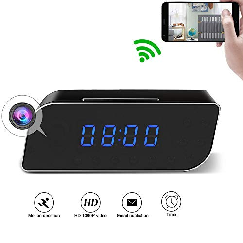 Wi-Fi Hidden Spy Camera XDMYWH HD 1080P Wireless Cam Desk Clock Video Recorder with 2200mAh Battery Motion Detection and Alarm Notification Real-time Monitoring for Both Android and iOS