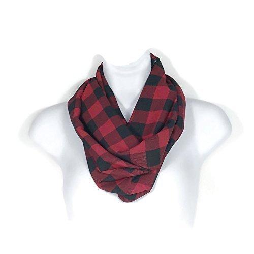 7d1ce7927 Amazon.com: Red and Black Buffalo Check Chiffon Scarves Buffalo Check  Infinity Scarves Red and Black Buffalo Plaid Scarves: Handmade