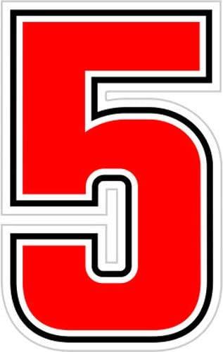 4R Quattroerre.it 13345 Startnummer 5 Aufkleber f/ür Motorr/äder Rot 63 mm Sic