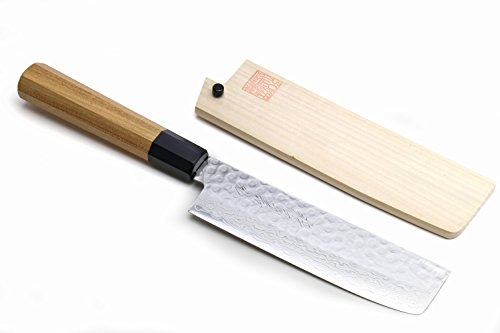 Yoshihiro VG-10 46 Layers Hammered Damascus Nakiri/Usuba Japanese Vegetable Chefs Knife (Octagonal Ambrosia Handle)