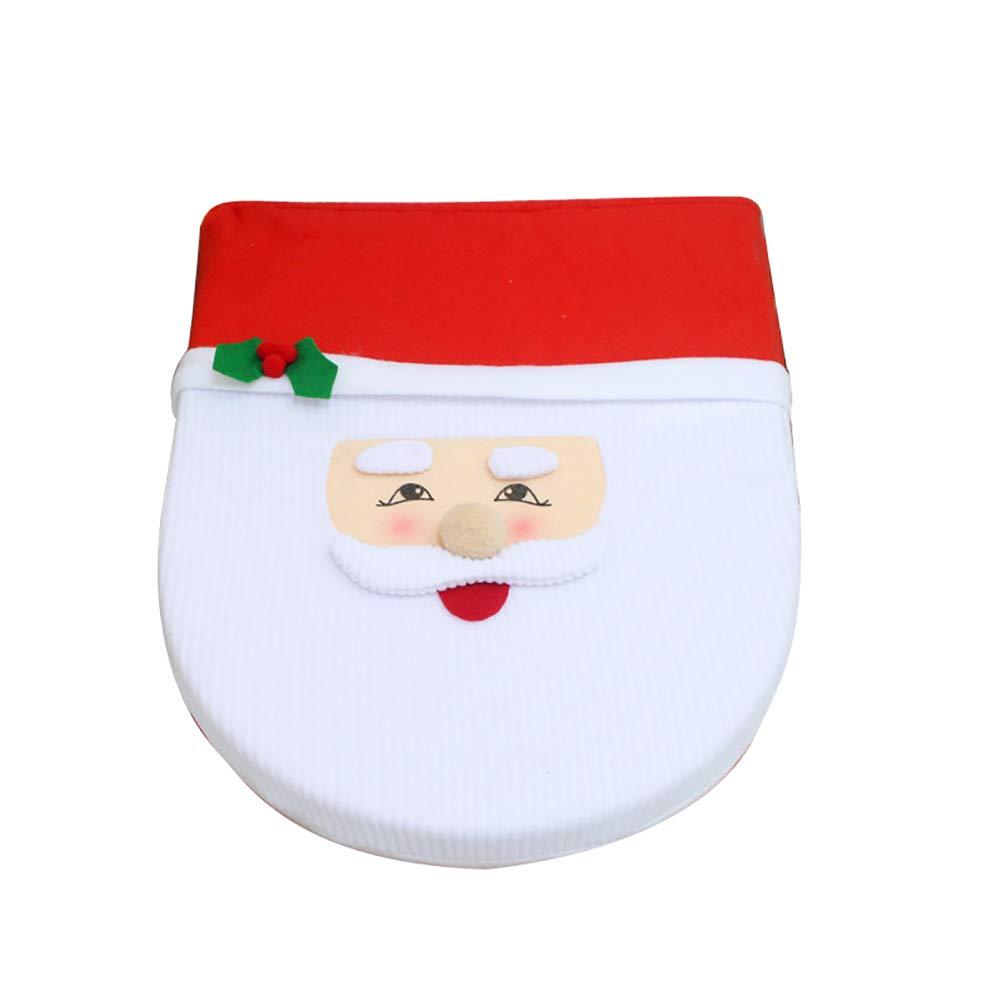 Jiobapiongxin Coperchio del Coperchio del WC di Natale Rosso Set di Servizi igienici per alci Pupazzo di Neve di Natale