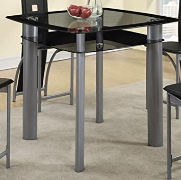 black square tempered glass top counter height dining table by poundex
