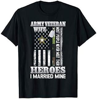 ⭐️⭐️⭐️ Birthday Gift Army Wife Veteran  | Pride Military Wife - I Married Need Funny Short/Long Sleeve Shirt/Hoodie