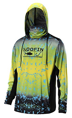13291f3b Performance Fishing Hoodie with Face Mask Sunblock Shirt Hooded Long Sleeve  with Drawstrings Pocket Yellow