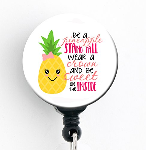 Girl Badge - Good Girl Gone Badge Be a Pineapple Stand Tall Wear a Crown - Retractable Badge Reel With Swivel Clip and Extra-Long 34 inch cord - Badge Holder