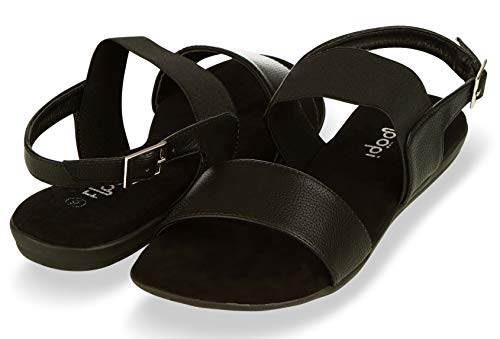 Floopi Summer Sandals for Women | Cute, Open Toe Sandals| Comfy, Wide Elastic & Faux Leather Ankle Straps W/Buckle Design, Flat Sole, Memory Foam Insole (9, Black-512)