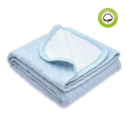 Organic Cotton Baby Blanket Warm, Breathable and Super Soft Quilted Toddler Blanket for Boys and Girls - Hypoallergenic Thermal Crib Blanket Thick and Light Weight 39x39 Large - Light Blue