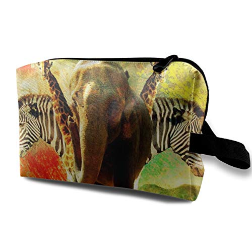 Makeup Cosmetic Case, Cosmetic Train Case Organizer Multi-Purpose Clutch Bag, Large Capacity Luggage Pouch Pen Case Box, African Elephant, Women