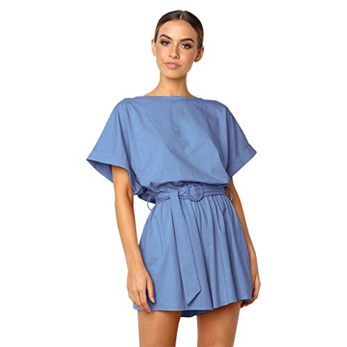 LiLiMeng 2019 New Women's Round Neck Bat Short Sleeves Elastic Waist Loose Solid Ruched Shorts Casual Long Belt Jumpsuit