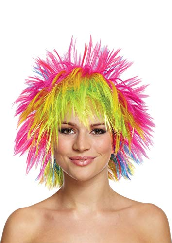 Rimi Hanger Womens Girls Charming Synthetic Wig with Air Bangs Curly Rainbow Wig Accessory One Size -