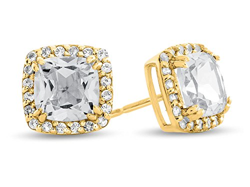 Finejewelers Solid 14k White Gold 6mm Cushion Center Stone with White Topaz accent stones Halo Earrings