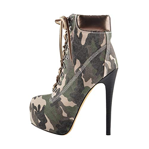 Onlymaker Women's Rivet Studded Platform High Heel Pointed Toe Lace Up Ankle Boots (9.5 B(M) US, Dark Camouflage)